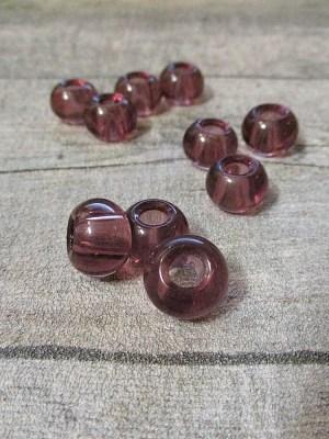 Glasperlen Glaskugeln Großlochperlen altrosa 14x10 mm Lochgröße 5,5 mm - MONDSPINNE