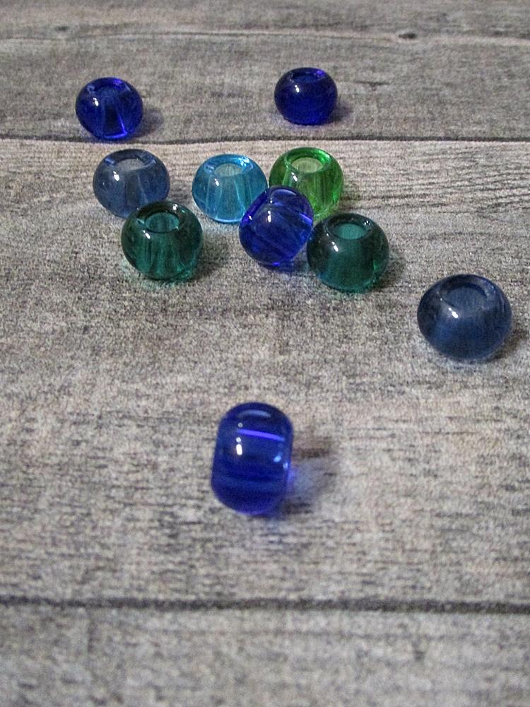 Glasperlen Glaskugeln Großlochperlen dunkelblau hellblau flaschengrün dunkelgrün hellgrün 14x10 mm Lochgröße 5,5 mm - MONDSPINNE