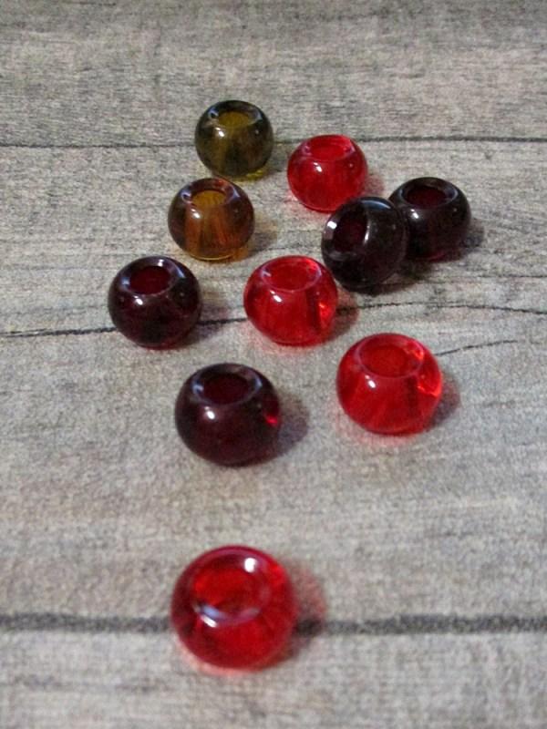 Glasperlen Glaskugeln Großlochperlen rot gelb 14x10 mm Lochgröße 5,5 mm - MONDSPINNE