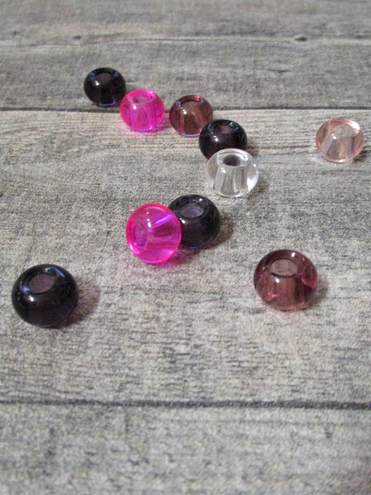 Glasperlen Glaskugeln Großlochperlen violett lila pink rosa transparent 14x10 mm Lochgröße 5,5 mm - MONDSPINNE