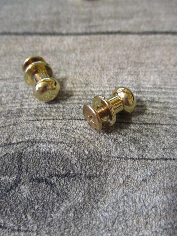 Knopfniete Kopfschraubniete Beiltaschenknopf Patronentaschenverschluss gold Metall 10x8 mm - MONDSPINNE