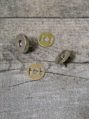 Magnetschließe Magnetverschluss Metall silberfarben 14 mm rund vierteilig - MONDSPINNE