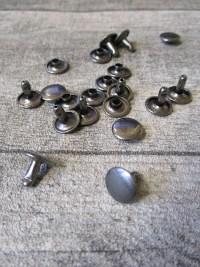 Niete Hohlniete rund flach Metall dunkelgrau 10x7,5 mm - MONDSPINNE