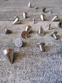 Nieten Schraubnieten Ziernieten silber Metall 9x7 mm rund spitz - MONDSPINNE