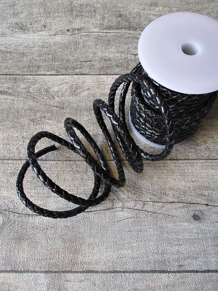 Lederband Lederriemen Rollenware rund schwarz geflochten 6 mm - MONDSPINNE