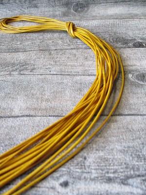 Lederband Lederriemen Ziegenleder rund vanillegelb 1 m 1,5 mm - MONDSPINNE