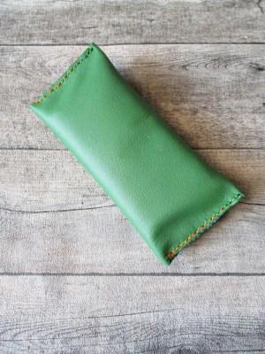 Tabaktasche Klippklapp grün Leder - MONDSPINNE