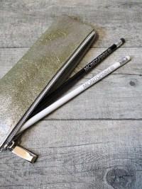 Federmäppchen Stiftemäppchen Federtasche gold-silber Leder - MONDSPINNE