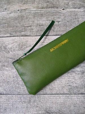 Federmäppchen Federtasche Ledertasche dunkelgrün olivgrün flach 17x6 cm - MONDSPINNE