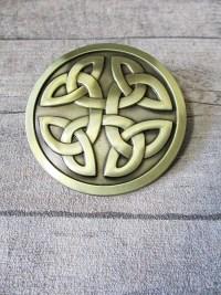 Gürtelschnalle Metallschließe Buckle messing Metall rund keltischer Knoten - MONDSPINNE