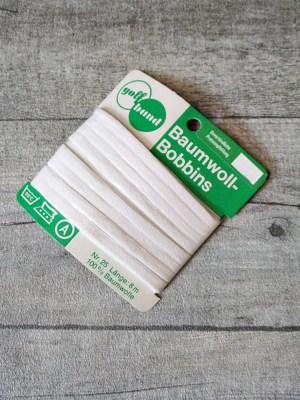 Einzuglitze Baumwoll-Bobbins weiß Baumwolle 8 m ca. 5 mm - MONDSPINNE