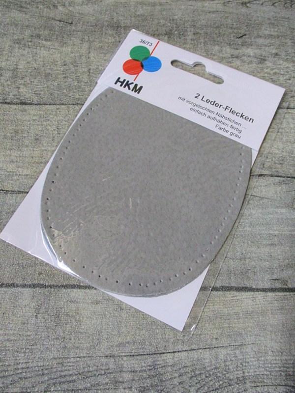 Lederflicken Lederflecken Leder Flicken oval vorgelocht vorgestanzt zum Aufnähen grau - MONDSPINNE