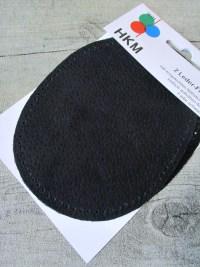 Lederflicken Lederflecken Leder Flicken oval vorgelocht vorgestanzt zum Aufnähen schwarz - MONDSPINNE