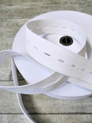 Lochgummi Knopflochgummi Hosengummi 24 mm 1 m weiß - MONDSPINNE