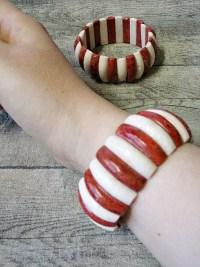 Armband stretch elastisch Koralle rot weiß - MONDSPINNE