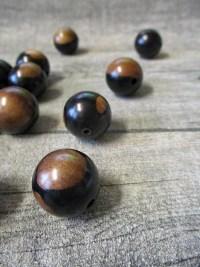 Holzperlen Holzkugeln Großlochperle Perlen Holz schwarz braun Ebenholz rund 20 mm - MONDSPINNE