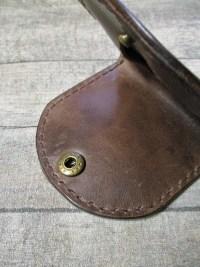 Börse Portemonnaie Schütte braun messingfarben Rindsleder Metall - MONDSPINNE
