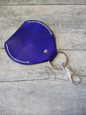 Schlüsselanhänger mit Börse Metall Rindsleder silber lila violett - MONDSPINNE