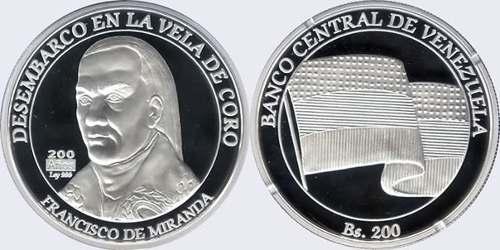 Moneda Conmemorativa del Bicentenario del Desembarco de Francisco de Miranda