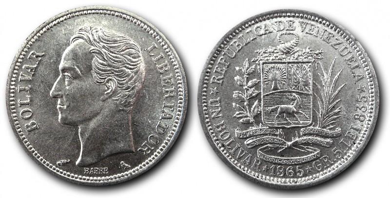 Moneda de 1 Bolívar de 1965. El último Bolívar de Plata