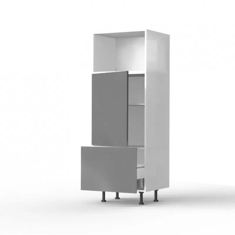 mon espace maison meuble colonne cuisine gris brillant largeur 60cm