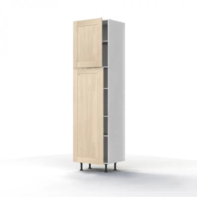 mon espace maison meuble colonne cuisine chene massif brut largeur 60cm