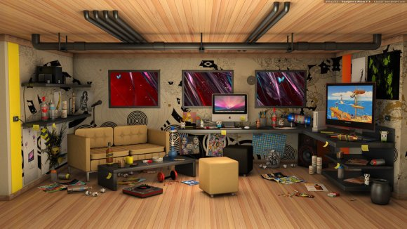 cluttered house interior