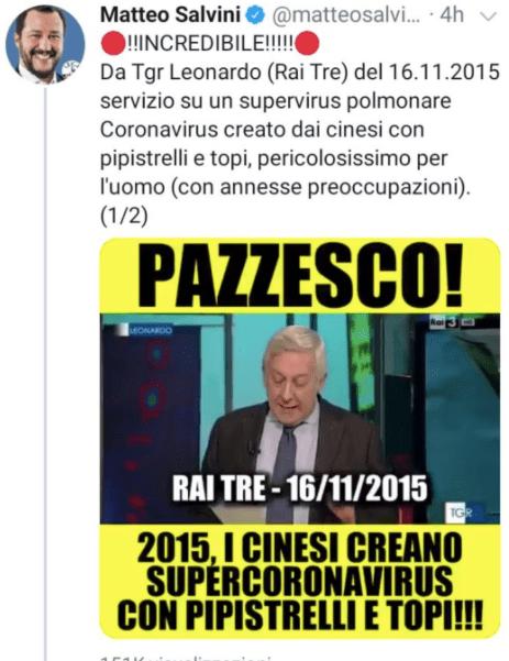 Super Coronavirus Creato Dai Cinesi Salvini Sbugiardato