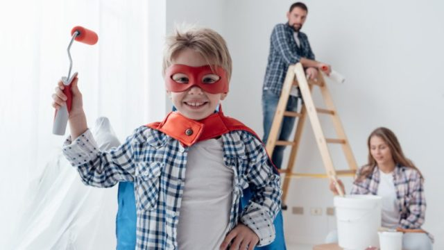 Family Home Improvement Project Ladder Painting Superhero