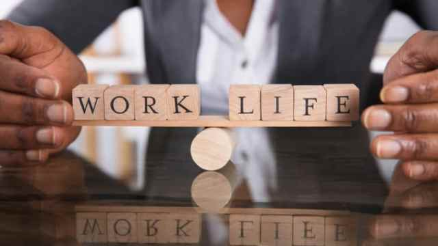 Work Life Balance Blocks Letters See Saw