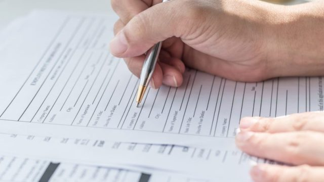 Filling Application Form Document Pen