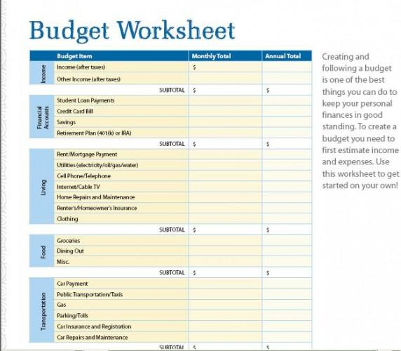 7 Free Printable Budget Worksheets