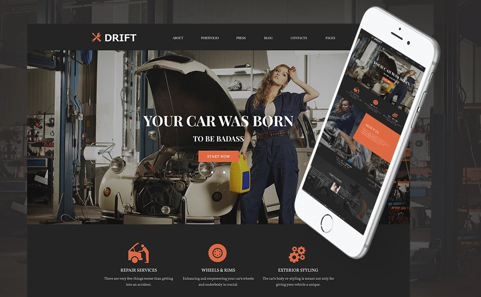 Drift Car Service WordPress Theme