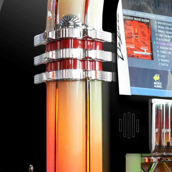 Black Rockola Bubbler Jukebox Side | moneymachines.com