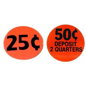 Gumball Machine 25 & 50 cent pricing stickers | moneymachines.com