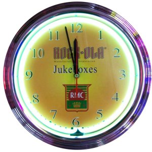 Rock-Ola Jukebox Shield Neon Wall Clock | moneymachines.com