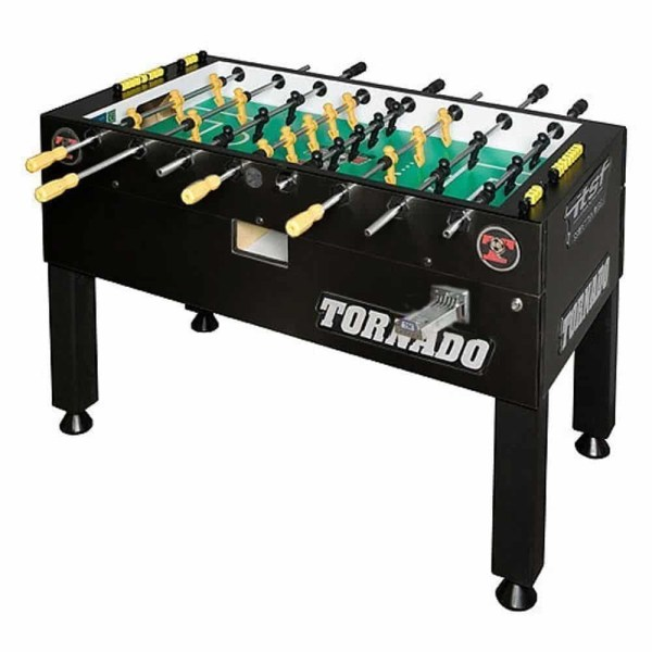 Tornado Platinum Tour Coin Operated Black 1 Man Goalie Foosball Table | moneymachines.com