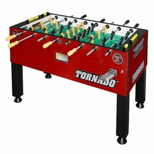 Tornado Platinum Tour Coin Operated Crimson Red 3 Man Goalie Foosball Table | moneymachines.com