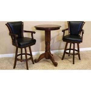 Winslow Pub Table and Backed Bar Stool Set Warm Chestnut Finish | moneymachines.com