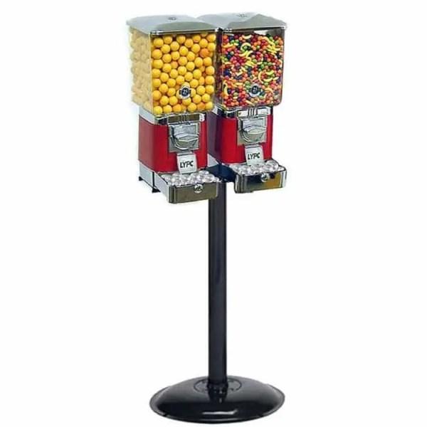 2 Tough Pro Gumball Vending Machines On Black Stand | moneymachines.com