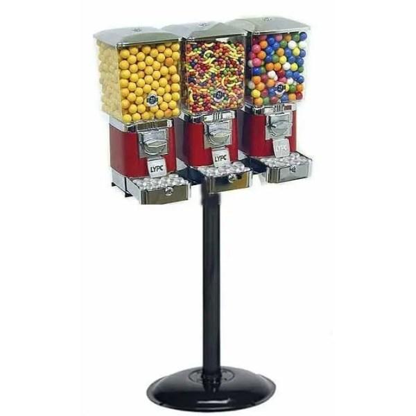 3 Tough Pro Gumball Vending Machines On Black Heavy Duty Stand   moneymachines.com