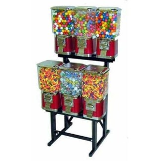 6 Pro Line Vending Machines On Black Rack Stand   moneymachines.com