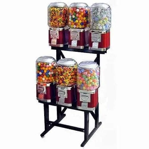 6 Unit Classic Gumball Vending Machines On Rack Stand | moneymachines.com