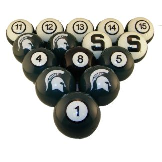 Michigan State Spartans Billiard Ball Set | moneymachines.com