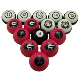 Georgia Bulldogs Billiard Ball Set | moneymachines.com