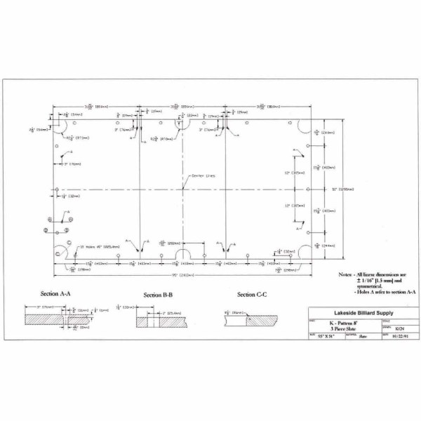 Dimensional slate size diagram for 8 foot K pattern 3 piece pool table slate | moneymachines.com