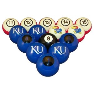 Kansas Jayhawks Billiard Ball Set | moneymachines.com