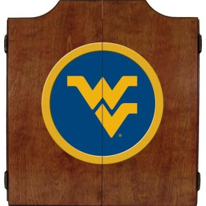 West Virginia Mountaineers College Logo Dart Cabinet | moneymachines.com