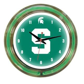 Michigan State Spartans Neon Wall Clock   Moneymachines.com