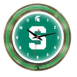 Michigan State Spartans Neon Wall Clock | Moneymachines.com